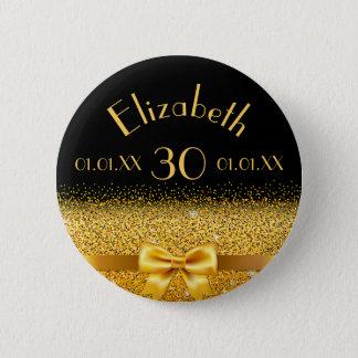 30th birthday elegant gold bow with ribbon black 6 cm round badge