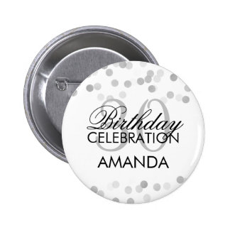 30th Birthday Faux Silver Foil Glitter Lights 6 Cm Round Badge