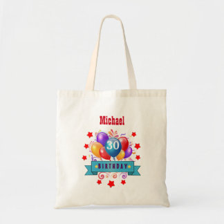 30th Birthday Festive Colorful Balloons C01BZ Budget Tote Bag