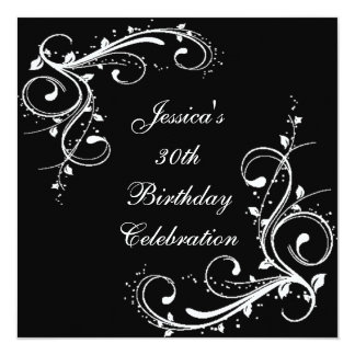 30th Birthday Floral Swirls Black & White 13 Cm X 13 Cm Square Invitation Card