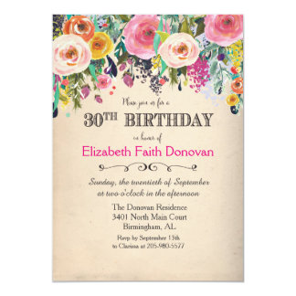 30th Birthday Floral Watercolor Invitation