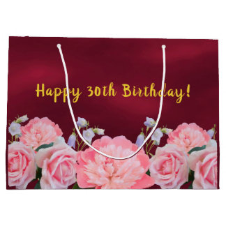 30th birthday gift bag burgundy with pink flowers