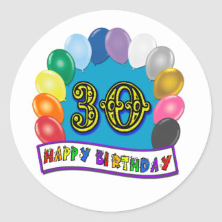 30th Birthday Gifts with Assorted Balloons Design Classic Round Sticker