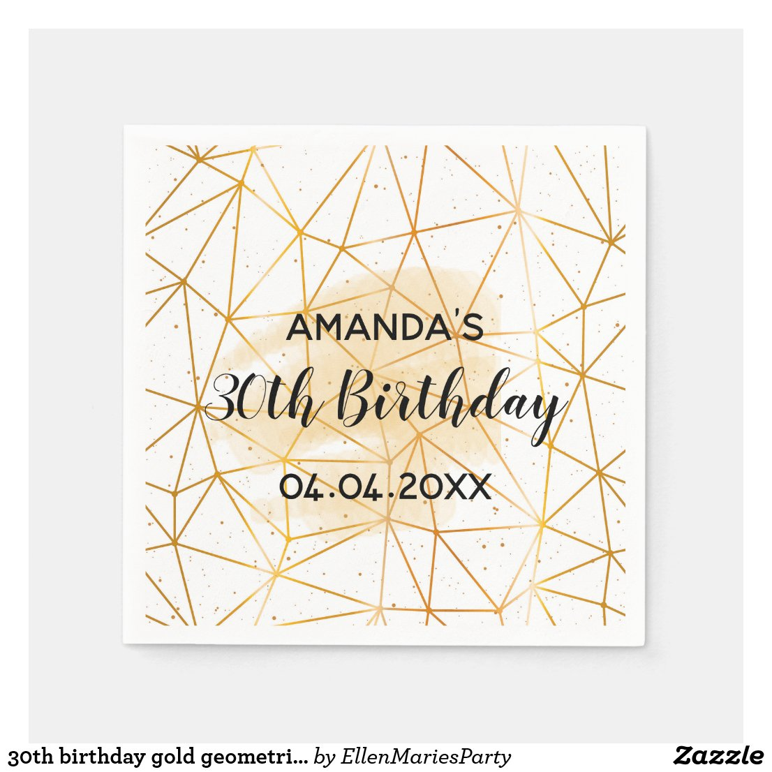 30th birthday gold geometric pattern on white disposable napkin