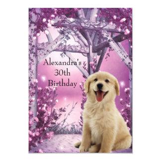 30th Birthday Golden Retriever Winter Pink 13 Cm X 18 Cm Invitation Card