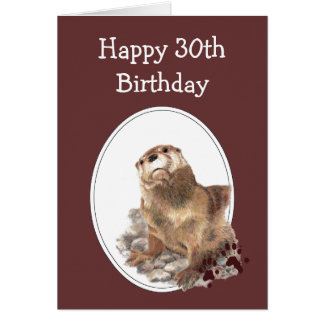 30th Birthday Humor with Cute Watercolor Otter Card