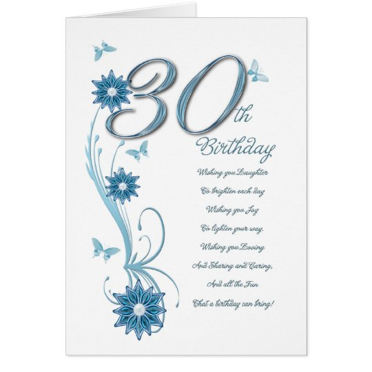 30th birthday in teal with flowers and butterfly