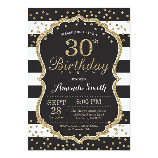 30th Birthday Invitation Black And Gold Glitter