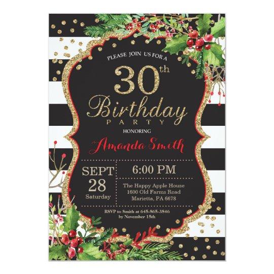 30th Birthday Invitation. Christmas Red Black Gold Card