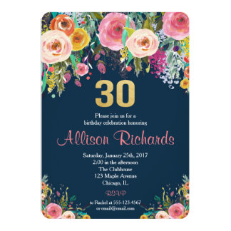 30th birthday invitation floral watercolor navy