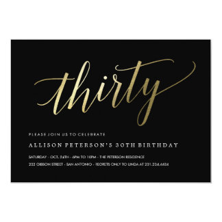 30th Birthday Invitations -  Formal Faux Gold