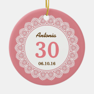 30th Birthday Memento Shell Pink with White Lace 7 Christmas Ornament