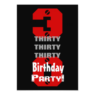 30th Birthday Modern Black Red White Rivets B474 13 Cm X 18 Cm Invitation Card