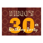 30th Birthday Modern For Him Brown Gold K457 Personalized Invitations