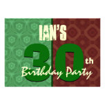 30th Birthday Modern For Him Green and Brown K456 Announcement