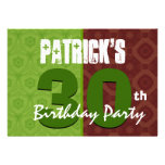 30th Birthday Modern For Him Lime Green Brown K457 Personalised Announcement