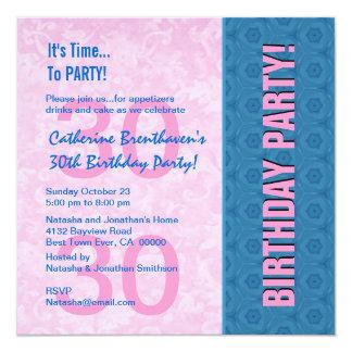 "30th Birthday Modern Pink and Blue B330 5.25"" Square Invitation Card"
