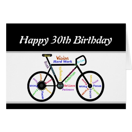 30th Birthday Motivational Bike Bicycle Cycling Cards