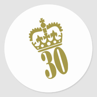 30th Birthday - Number – Thirty Classic Round Sticker