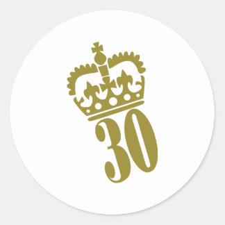 30th Birthday - Number – Thirty Round Sticker
