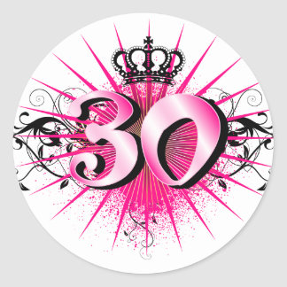 30th Birthday or Anniversary Classic Round Sticker