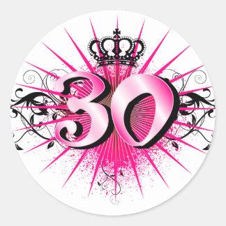 30th Birthday or Anniversary Round Sticker