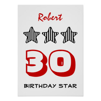 30th Birthday or ANY AGE Striped Stars Custom Name Poster