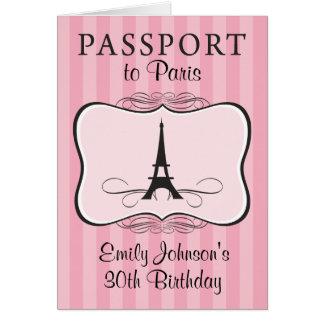 30th Birthday Paris Passport Invitation Note Card