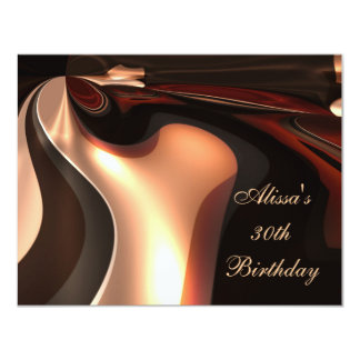 30th Birthday Party Abstract Art Chocolate Flow 11 Cm X 14 Cm Invitation Card