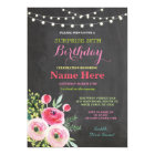 30th Birthday Party Chalkboard Floral Pink Invite