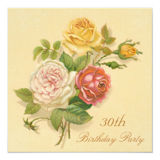 30th Birthday Party Chic Vintage Roses 13 Cm X 13 Cm Square Invitation Card