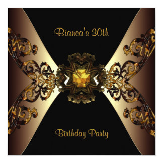 30th Birthday Party  Coffee Gold Rattan Jewel 13 Cm X 13 Cm Square Invitation Card