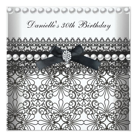 30th Birthday Party Damask Black White Pearl Card