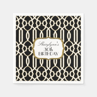 30th Birthday Party Decor Trellis Art Black Gold Paper Serviettes