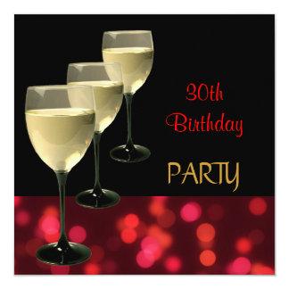 30th Birthday Party Drinks Glasses Black Red 13 Cm X 13 Cm Square Invitation Card