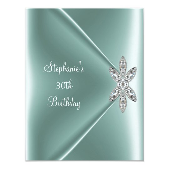 30th Birthday Party Elegant Mint Green Jewel Card