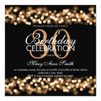 30th Birthday Party Faux Gold Hollywood Glam Card