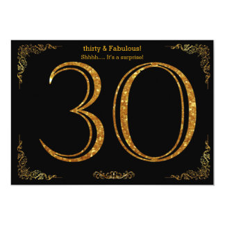 30th Birthday party,Gatsby styl,black gold glitter 13 Cm X 18 Cm Invitation Card