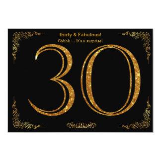30th Birthday party,Gatsby styl,black gold glitter Card