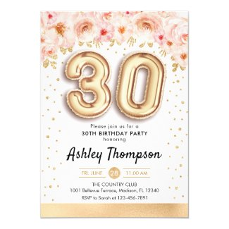 30th Birthday Party - Gold Balloons Invitation