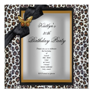 30th Birthday Party Gold Cheetah Black Butterfly 13 Cm X 13 Cm Square Invitation Card