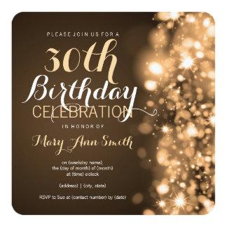 30th Birthday Party Gold Sparkling Lights 13 Cm X 13 Cm Square Invitation Card