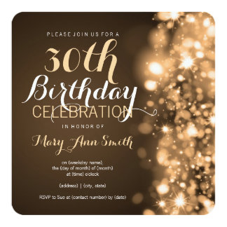 30th Birthday Party Gold Sparkling Lights Card