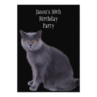 30th Birthday Party Grey Cat 13 Cm X 18 Cm Invitation Card