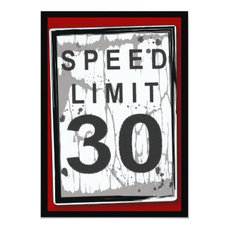 30th Birthday Party Grungy Speed Limit Sign Card