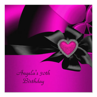 30th Birthday Party Hot Pink Silver Abstract Black 5.25x5.25 Square Paper Invitation Card