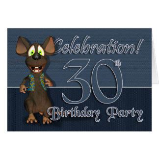 30th Birthday Party Invitaion - Fun Mouse Greeting Card