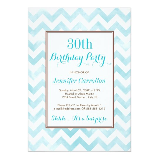 30th Birthday Party Invitation (blue)