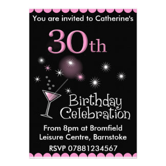 30th Birthday Party Invitation - Cocktail Glass