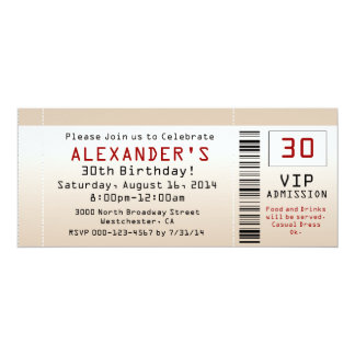 30th Birthday Party Invitation Sand Ticket